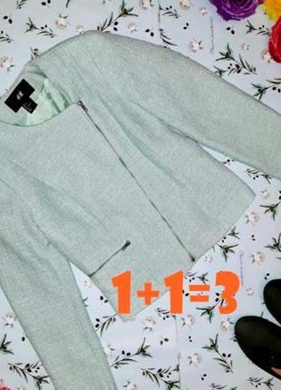 🎁1+1=3 фирменная мерцающая куртка косуха h&m мятного цвета демисезон, размер 40 - 42