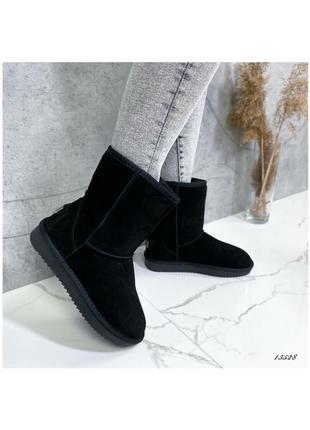 Угги средние замшевые черные высокие ботинки боты сапожки