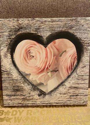Англия 🏴, картина 🖼 на деревянном подрамнике, розы 🌹, сердце 🧡