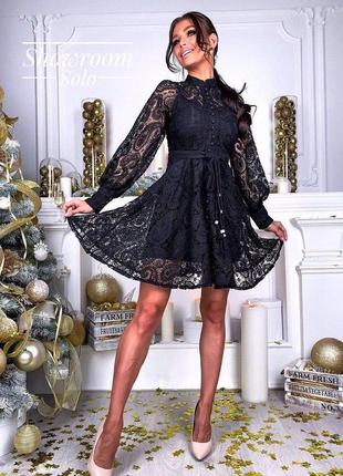Кружевное гипюровое платье с поясом