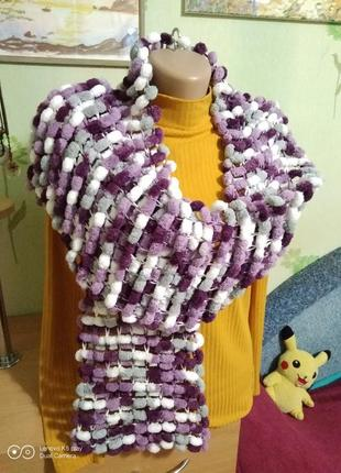 Распродажа!!! шарф плюшевый, махровый-помпонная пряжа-ручная работа-не ношен..