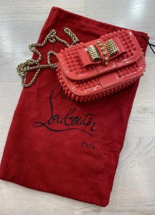 Christian louboutin sweet charity crossbody bag spiked patent mini (pink)