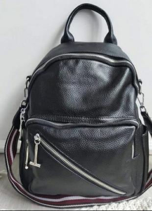 Женский кожаный городской рюкзак, чёрный рюкзак сумка, жіноча сумка рюкзак