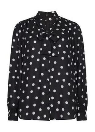Блуза с галстуком в крупный горох