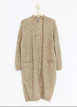 Теплый длинный кардиган пальто альпака шерсть