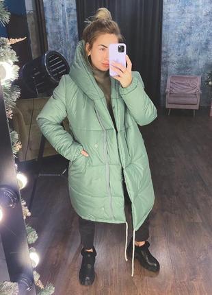 Куртка женская зимняя пуховик зимний женский силикон фисташка зелёная хаки