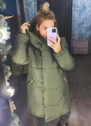 Куртка тёплая зимняя хаки женская пуховик длинный силикон с капюшоном