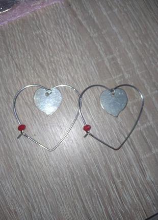 Серьги сердце в сердце