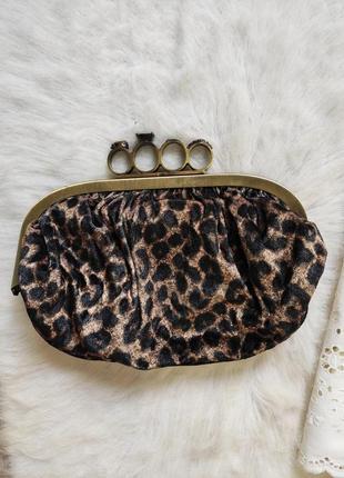 Леопардовый бархатный клатч с кастетом кольцами маленькая сумочка сумка кросс коричневый