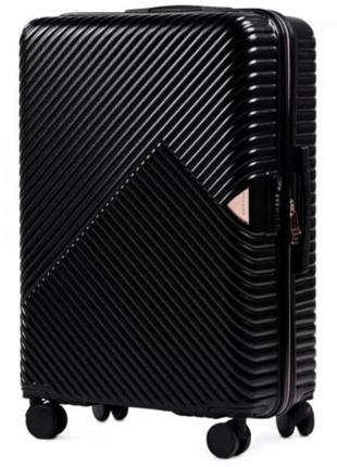 Чёрный дорожный чемодан wn 01 материал поликарбонат
