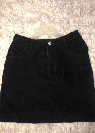 Вельветовая чёрная юбка