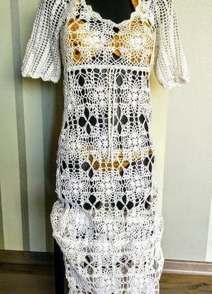 100% коттон очень эффектное белое вязанное  платье