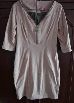 Актуальное замшевое платье пудрового цвета от андре тан