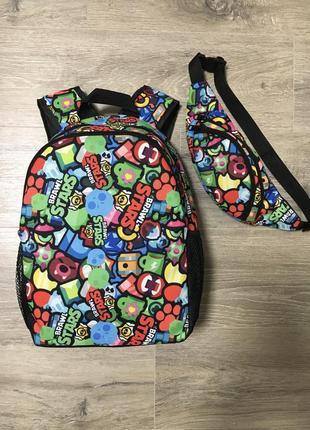 Набор рюкзак+бананка школьный brawl stars