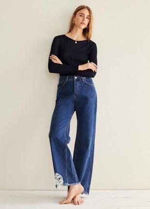 Синие прямые джинсы mango relaxed fit