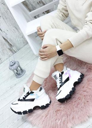 Зимние белые кроссовки с мехом кожа