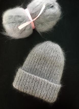 Шапка женская вязаная стильная зимняя ручная работа