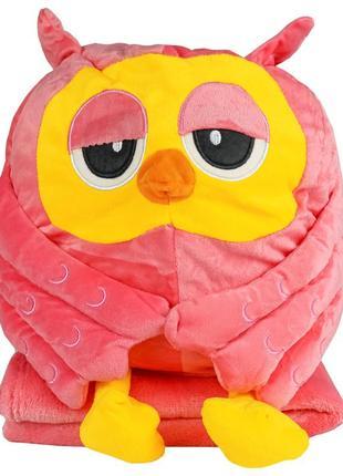 """Іграшка-плед """"рожева сова"""""""