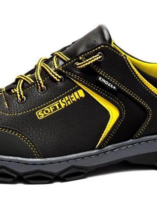 Кроссовки мужские спортивные черные с желтым (х-29)