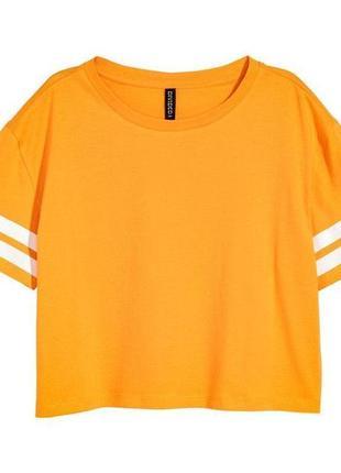 1+1=3 стильная желтая футболка топ h&m, размер 44 - 46