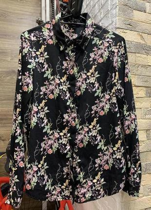 Рубашка блуза женская чёрная в цветочный принт с длинным рукавом brave soul