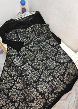 Нарядное платье черное с сеточкой вышивка золотыми нитями