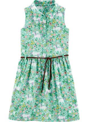 Летнее хлопковое платье для девочки украшено цветочным принтом  carter's (сша)