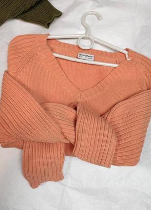 Свитер коралловый с v образным вырезом, руловер, джемпер, кофта
