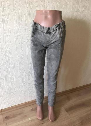 Модные хит две молнии джинсы серые варенки средняя посадка узкие скинни узкачи bershka