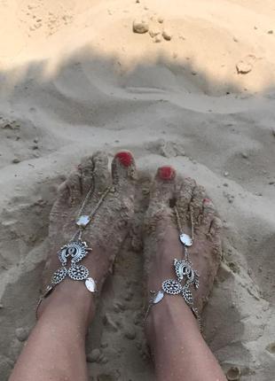 Браслет на ногу, античное серебро, тренд 2017