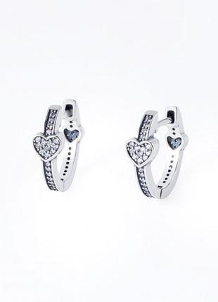 Серебряные серьги сердце