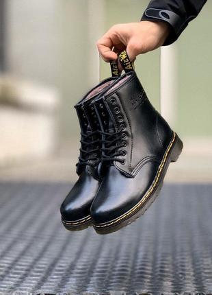 Шикарные ботинки унисекс dr. martens 1460 black на меху наложка