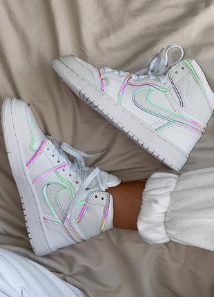 Шикарные женские кроссовки nike air jordan retro 1 white наложенный платёж