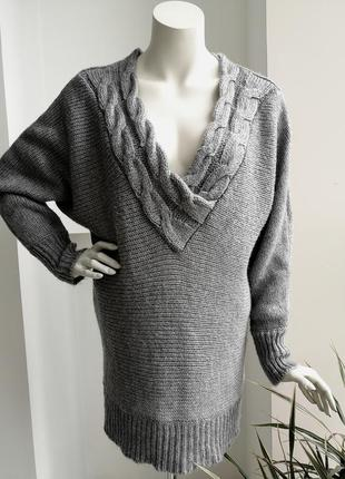 Серый вязаный оверсайз удлинённый тёплый свитер платье кофта реглан v вырез h&m