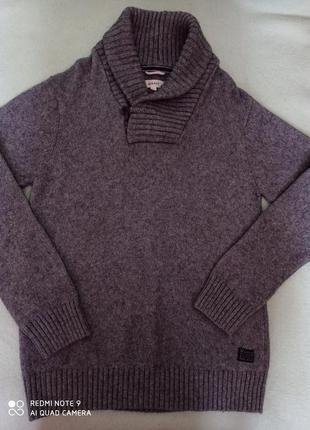 Шикарнейшая мягкая теплая удлиненная серая кофта с высоким воротником с альпакой gant