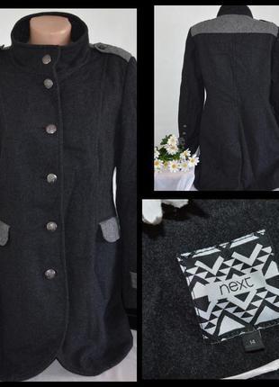 Красивое стильное демисезонное шерстяное пальто с карманами next