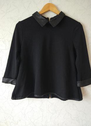 Кофта  блуза с кожаными вставками