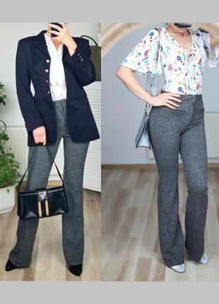 Роскошные брюки клёш с высокой посадкой строгие брюки деловые женские высокая посадка