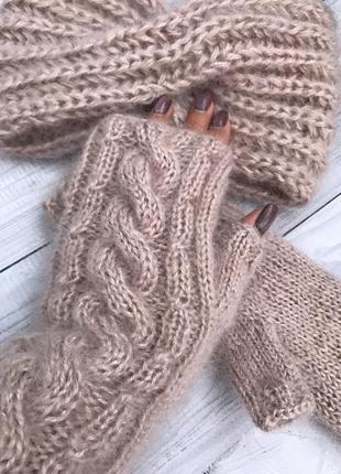 Митенки тёплые пушистые вязаные мохер шерсть чалма тепла пов'язка мітенки пудра норка