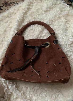 Сумка-корзинка из натуральной замши, сумка