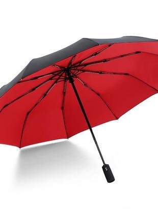 Прочный зонт krago складной 10-ти спицевый, полный автомат с двойным куполом красный