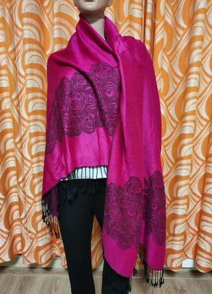 Шикарный шарф палантин двухсторонний с цветочным принтом цвет фуксия шерсть и шелк