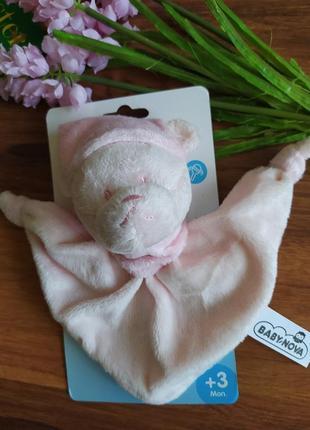 Нежная погремушка платок baby nova 3-12 месяцев.