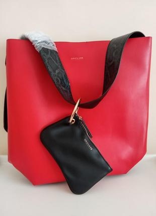 Червоно-чорна сумка ava з гаманцем oriflame оріфлейм орифлейм красная/чёрная + кошелёк