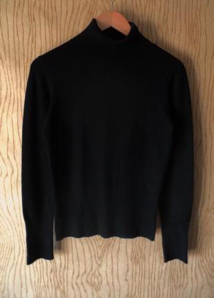 Джемпер свитер с длинным черный горлом базовый весенний осенний зимний водолазка теплая