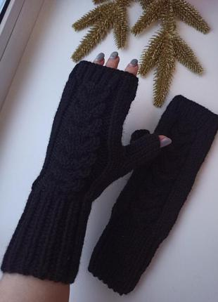 Митенки высокие вязаные перчатки для сенсорных экранов ручная работа
