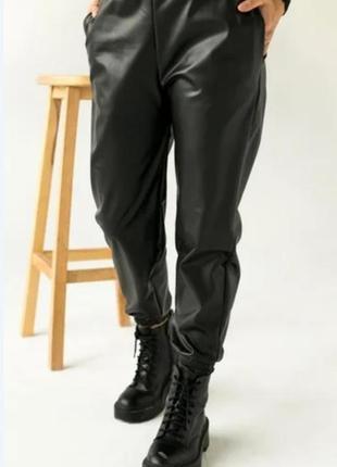 """Утепленные кожаные штаны на флисе """"маркус"""
