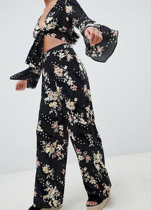 Штаны брюки кюлоты цветочный принт в горошек zara