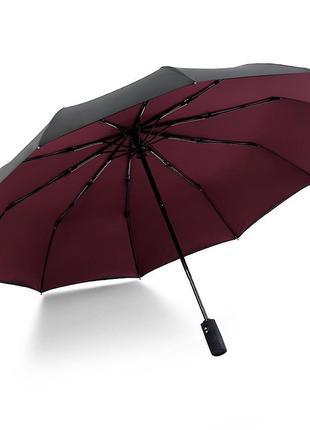 Прочный зонт krago складной 10-ти спицевый, полный автомат с двойным куполом бордовый