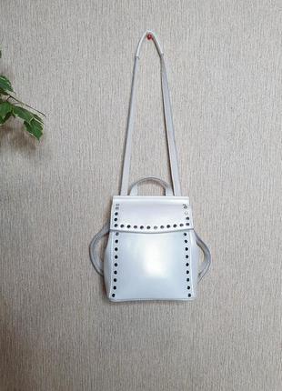 Стильный кожаный рюкзак, сумка-рюкзак  с перламутром vera pelle, 100% натуральная кожа